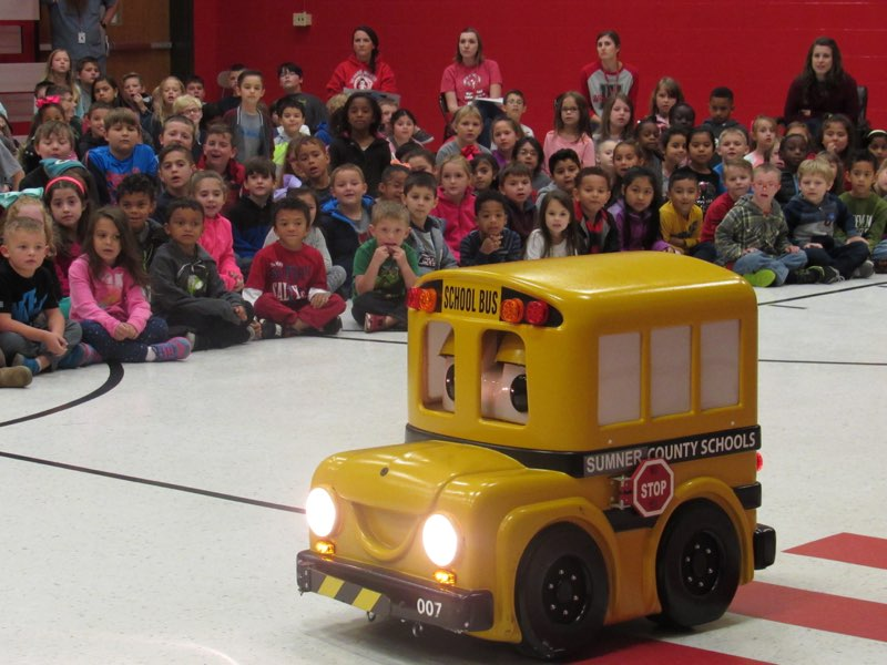 Buster the Bus came to teach GWE students about bus safety