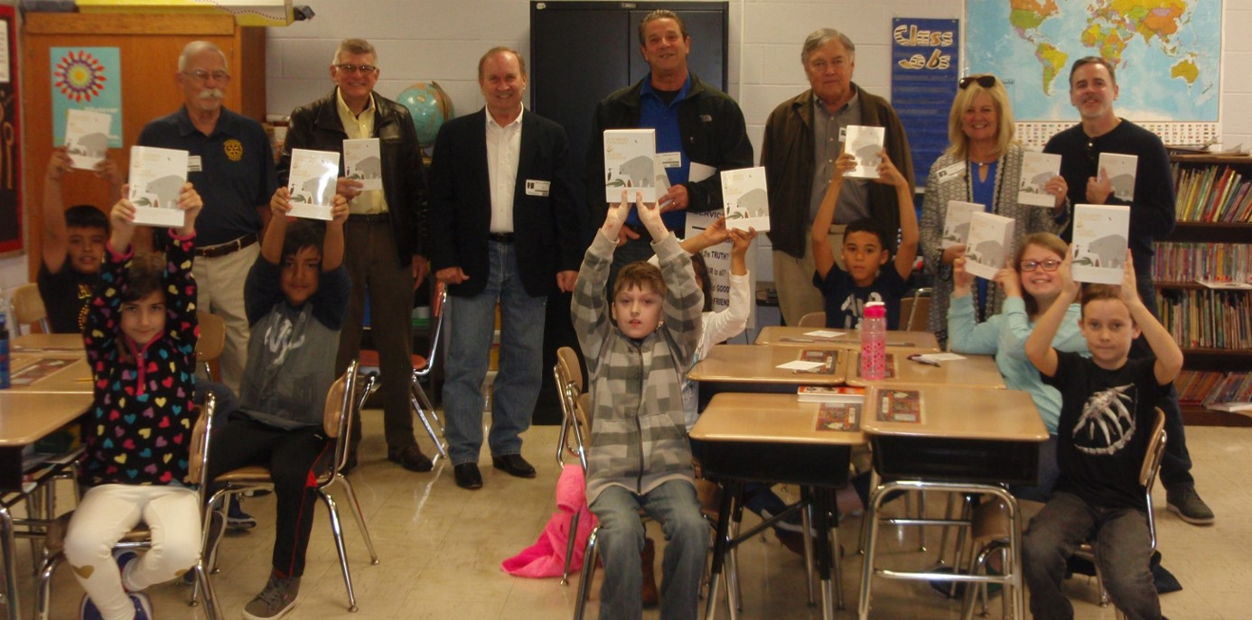 The Hendersonville Rotary Club donated a dictionary for each of GWE's third graders!