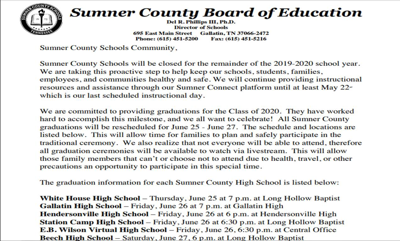 Sumner Co School Closing Corona 2020